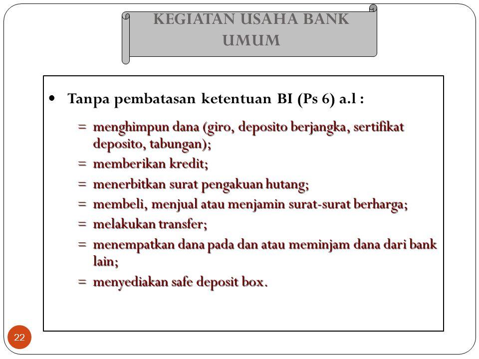 KEGIATAN USAHA BANK UMUM 22 Tanpa pembatasan ketentuan BI (Ps 6) a.l : = menghimpun dana (giro, deposito berjangka, sertifikat deposito, tabungan); =
