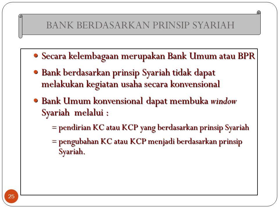 BANK BERDASARKAN PRINSIP SYARIAH 25 Secara kelembagaan merupakan Bank Umum atau BPR Secara kelembagaan merupakan Bank Umum atau BPR Bank berdasarkan p