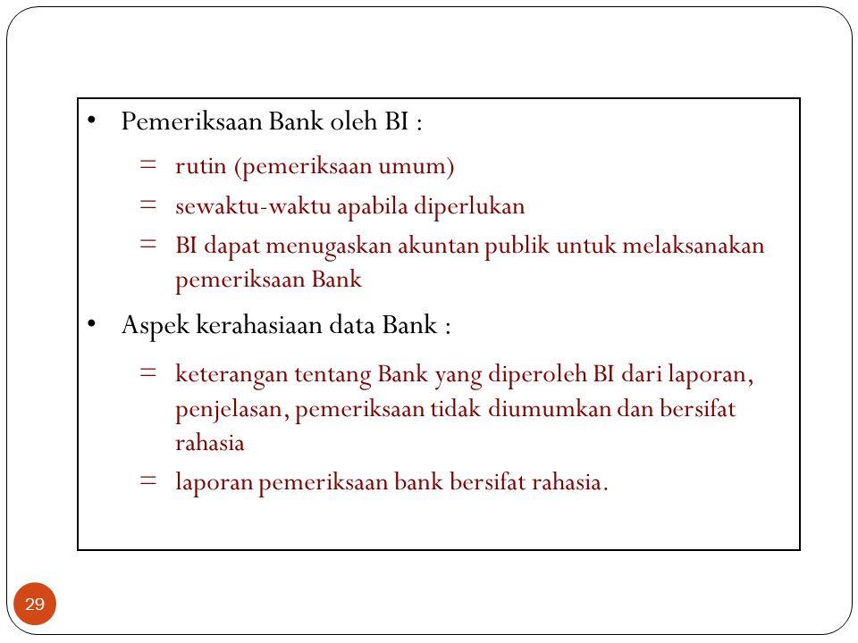 29 Pemeriksaan Bank oleh BI : =rutin (pemeriksaan umum) =sewaktu-waktu apabila diperlukan =BI dapat menugaskan akuntan publik untuk melaksanakan pemer