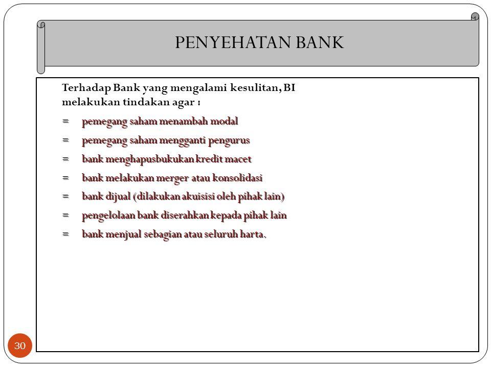 30 Terhadap Bank yang mengalami kesulitan, BI melakukan tindakan agar : = pemegang saham menambah modal = pemegang saham mengganti pengurus = bank men