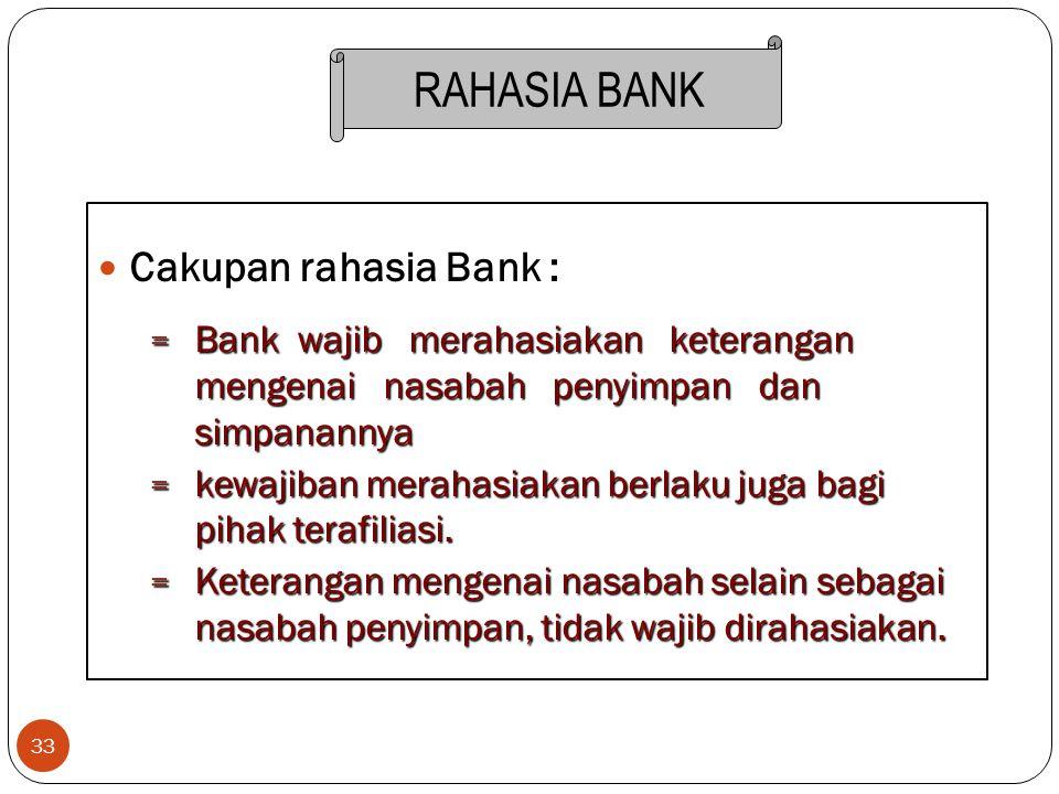 33 Cakupan rahasia Bank : = Bank wajib merahasiakan keterangan mengenai nasabah penyimpan dan simpanannya = kewajiban merahasiakan berlaku juga bagi p