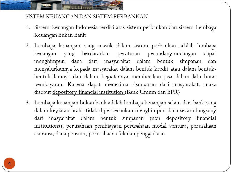4 SISTEM KEUANGAN DAN SISTEM PERBANKAN 1.Sistem Keuangan Indonesia terdiri atas sistem perbankan dan sistem Lembaga Keuangan Bukan Bank 2.Lembaga keua