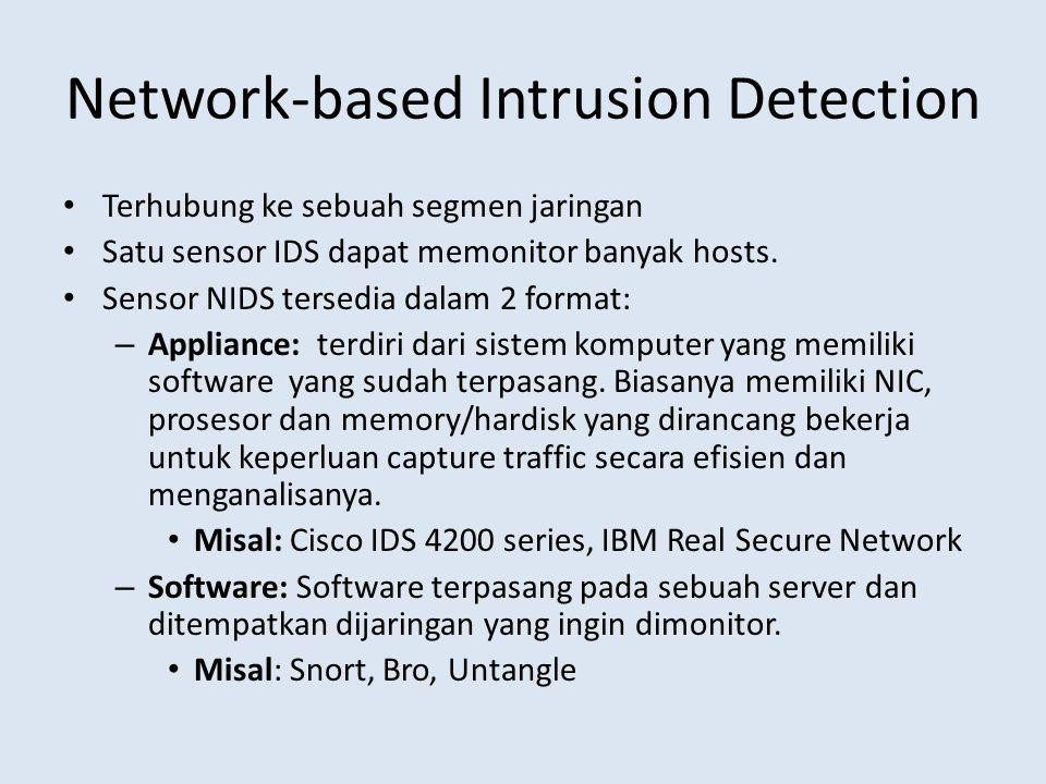 Network-based Intrusion Detection Terhubung ke sebuah segmen jaringan Satu sensor IDS dapat memonitor banyak hosts. Sensor NIDS tersedia dalam 2 forma