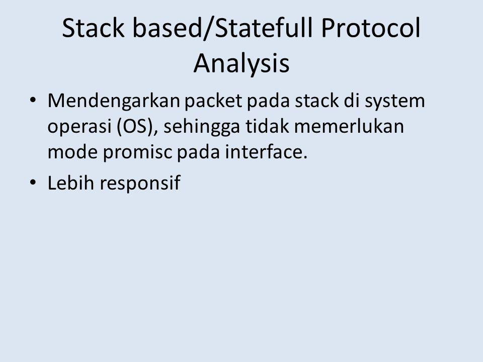 Stack based/Statefull Protocol Analysis Mendengarkan packet pada stack di system operasi (OS), sehingga tidak memerlukan mode promisc pada interface.
