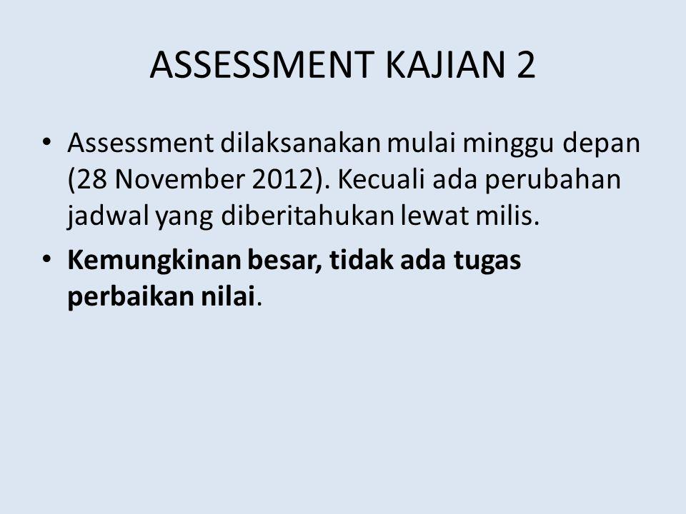 ASSESSMENT KAJIAN 2 Assessment dilaksanakan mulai minggu depan (28 November 2012). Kecuali ada perubahan jadwal yang diberitahukan lewat milis. Kemung