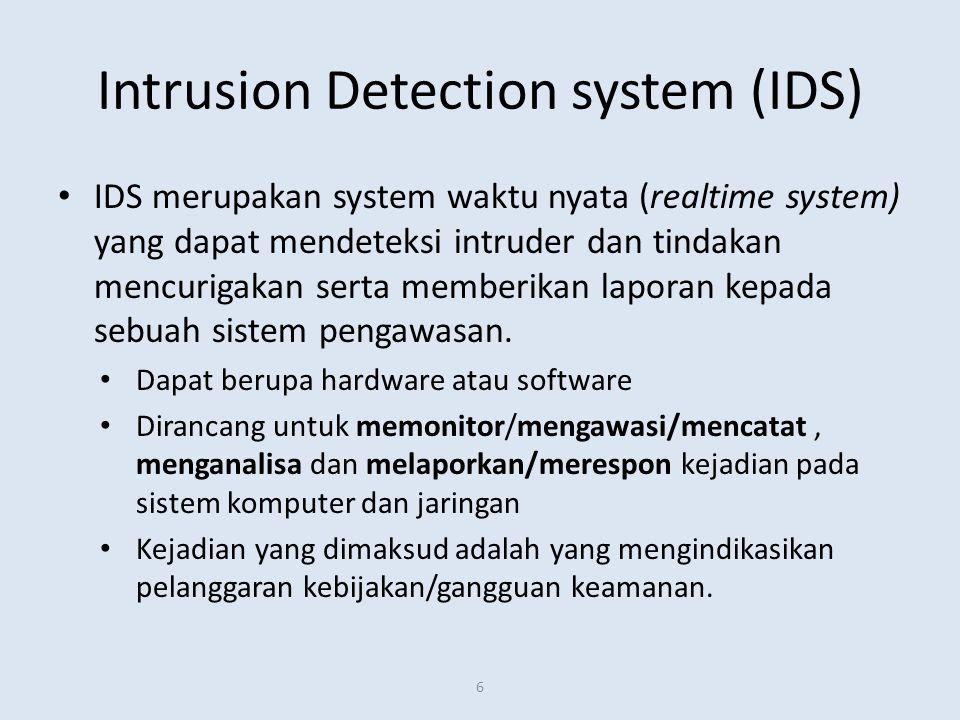 Intrusion Detection system (IDS) IDS merupakan system waktu nyata (realtime system) yang dapat mendeteksi intruder dan tindakan mencurigakan serta mem