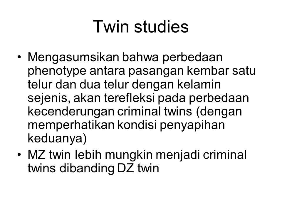 Twin studies Mengasumsikan bahwa perbedaan phenotype antara pasangan kembar satu telur dan dua telur dengan kelamin sejenis, akan terefleksi pada perb