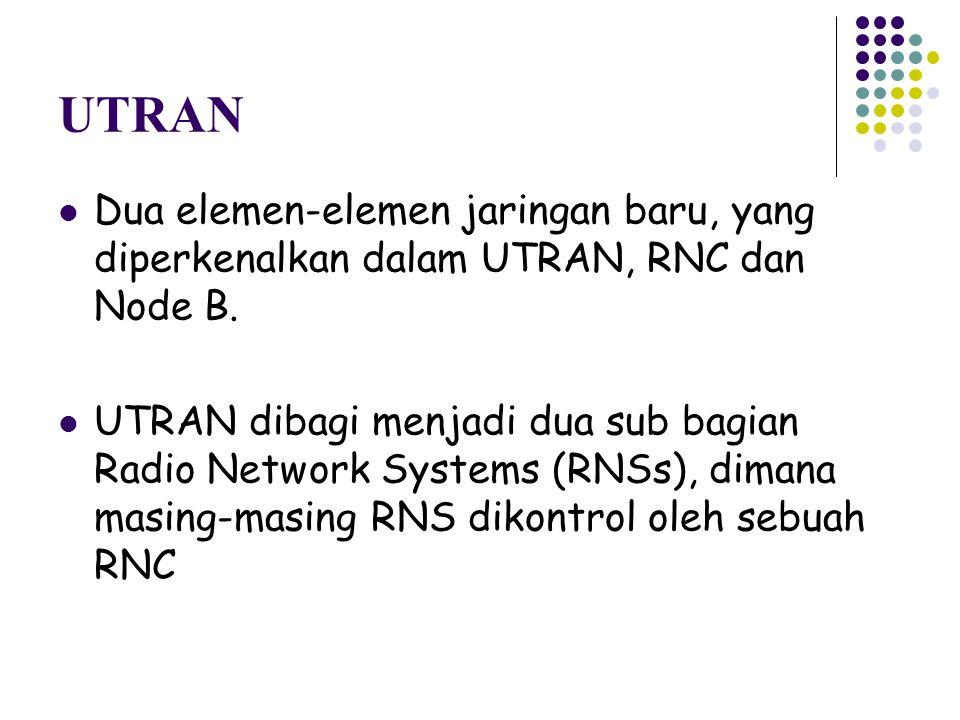 UTRAN Dua elemen-elemen jaringan baru, yang diperkenalkan dalam UTRAN, RNC dan Node B. UTRAN dibagi menjadi dua sub bagian Radio Network Systems (RNSs