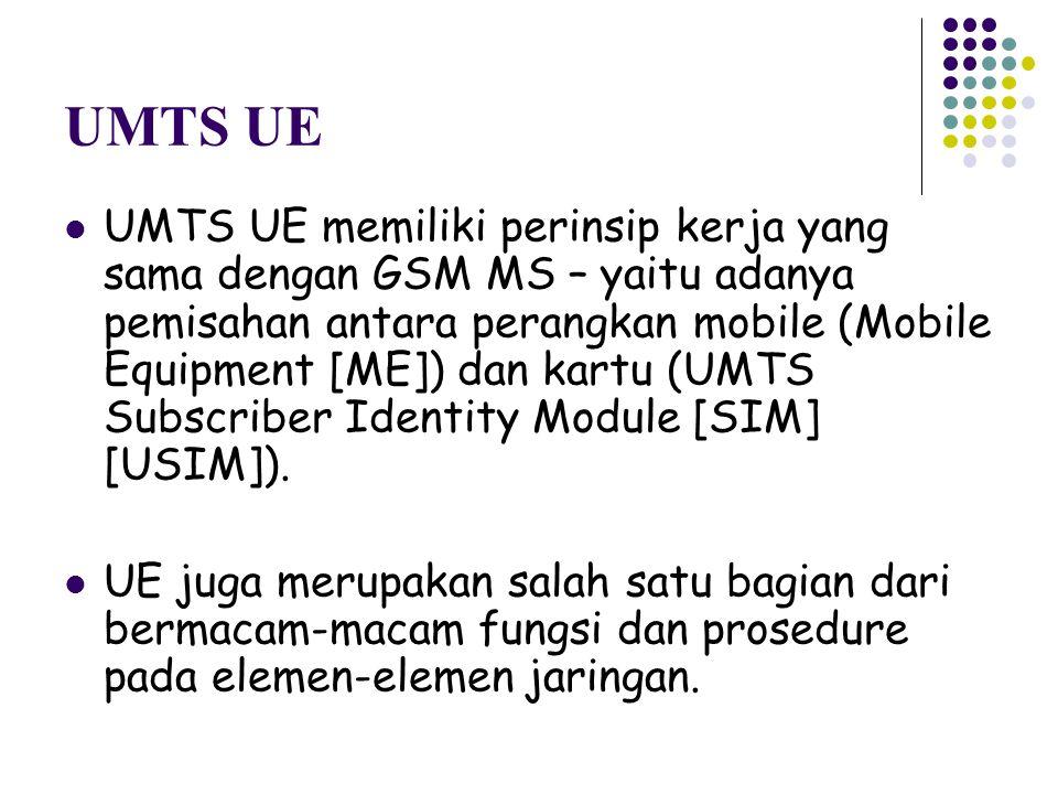 UMTS UE UMTS UE memiliki perinsip kerja yang sama dengan GSM MS – yaitu adanya pemisahan antara perangkan mobile (Mobile Equipment [ME]) dan kartu (UM