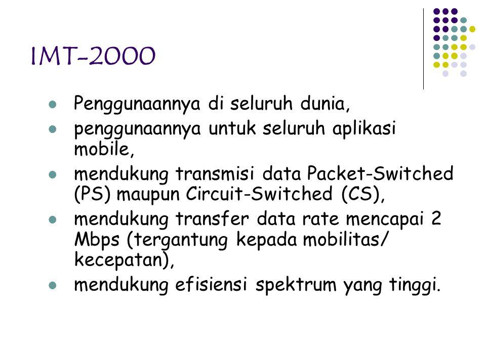 IMT-2000 Penggunaannya di seluruh dunia, penggunaannya untuk seluruh aplikasi mobile, mendukung transmisi data Packet-Switched (PS) maupun Circuit-Swi