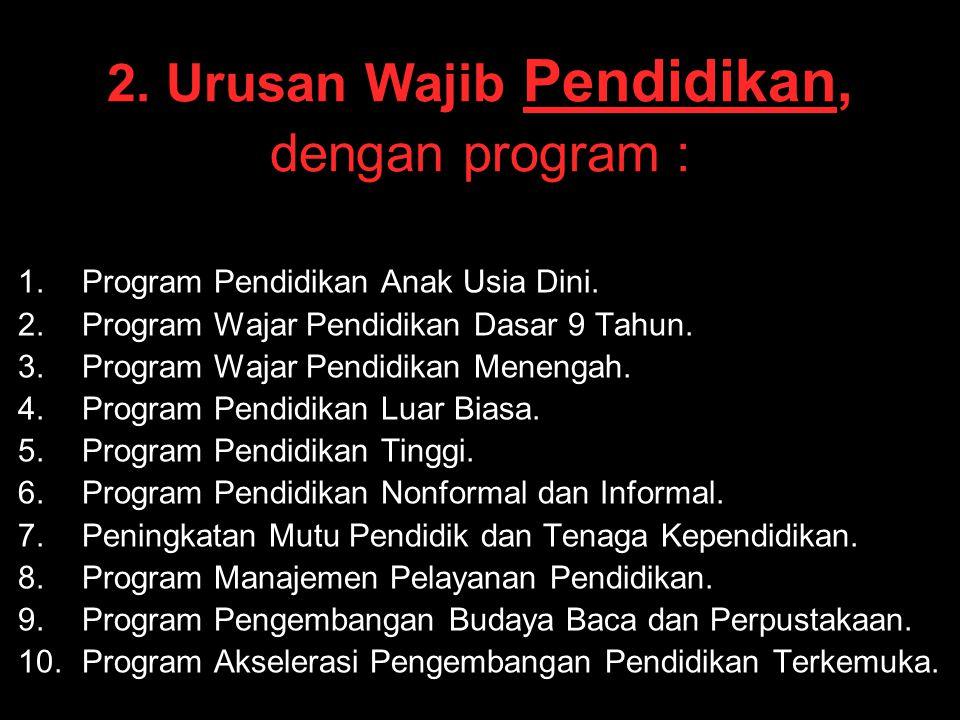2. Urusan Wajib Pendidikan, dengan program : 1. 1.Program Pendidikan Anak Usia Dini. 2. 2.Program Wajar Pendidikan Dasar 9 Tahun. 3. 3.Program Wajar P