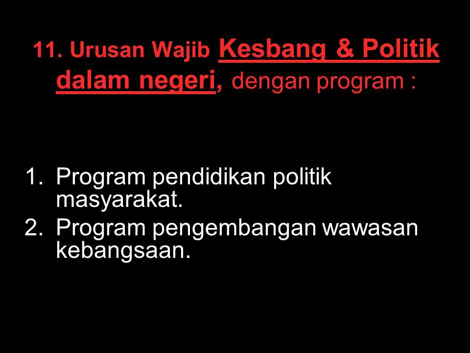 11. Urusan Wajib Kesbang & Politik dalam negeri, dengan program : 1. 1.Program pendidikan politik masyarakat. 2. 2.Program pengembangan wawasan kebang