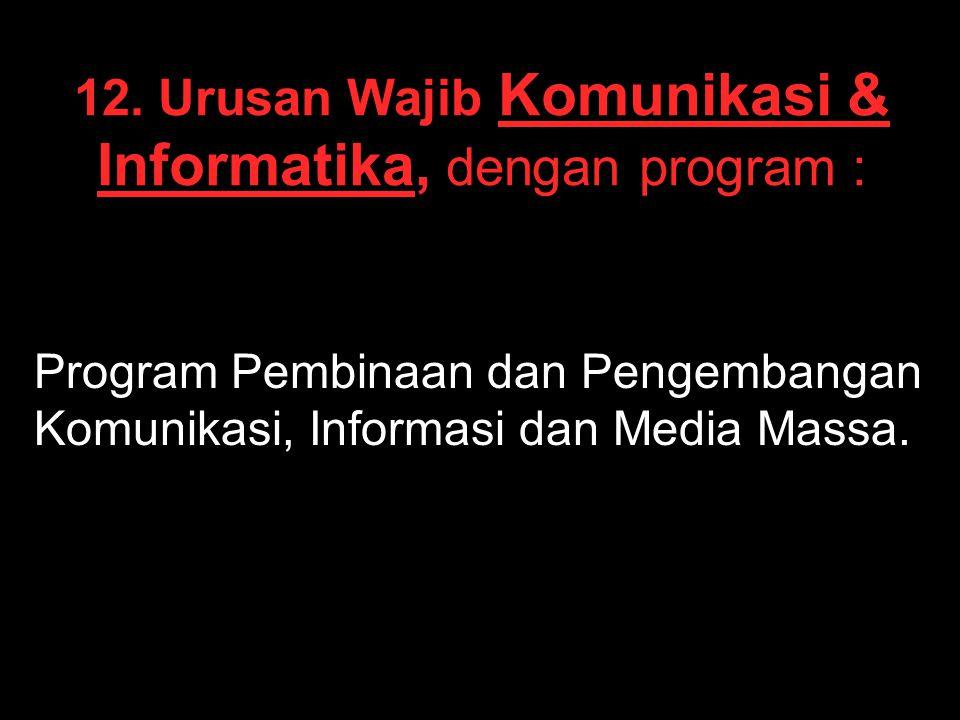 12. Urusan Wajib Komunikasi & Informatika, dengan program : Program Pembinaan dan Pengembangan Komunikasi, Informasi dan Media Massa.