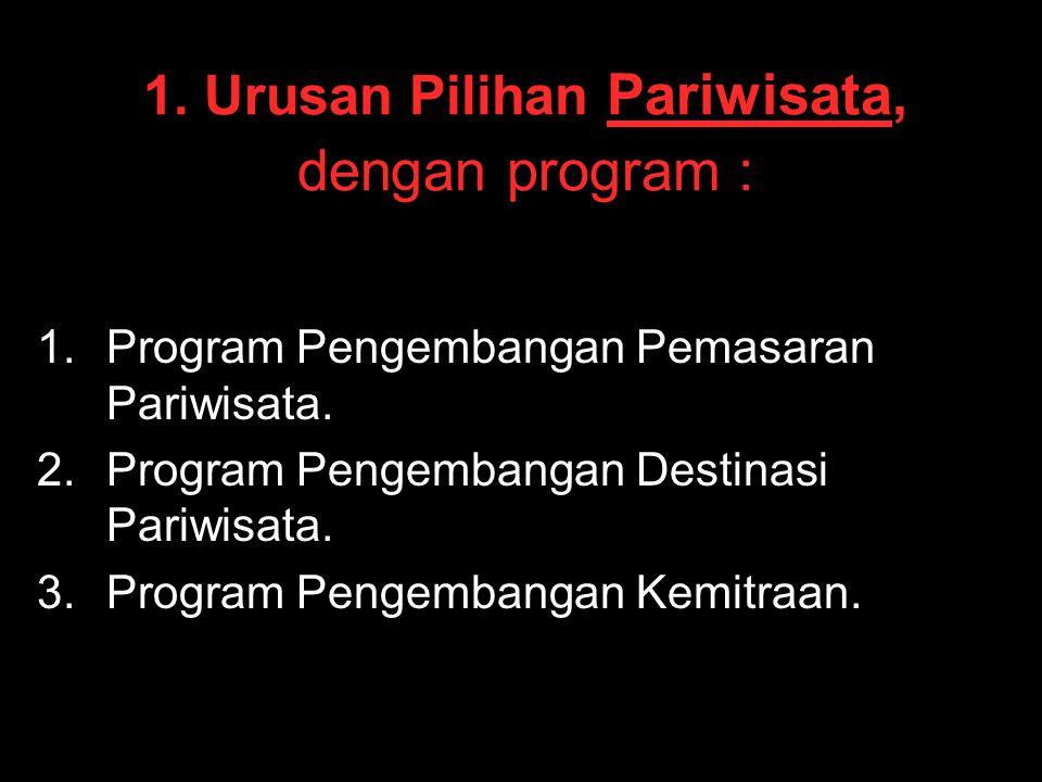 1. Urusan Pilihan Pariwisata, dengan program : 1. 1.Program Pengembangan Pemasaran Pariwisata. 2. 2.Program Pengembangan Destinasi Pariwisata. 3. 3.Pr