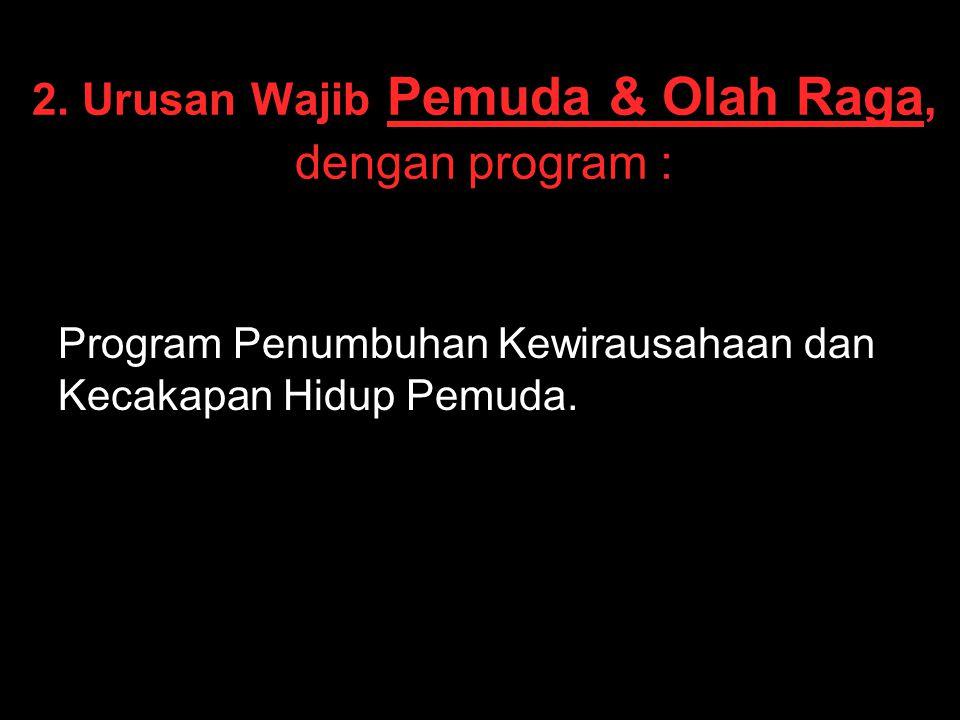 2. Urusan Wajib Pemuda & Olah Raga, dengan program : Program Penumbuhan Kewirausahaan dan Kecakapan Hidup Pemuda.