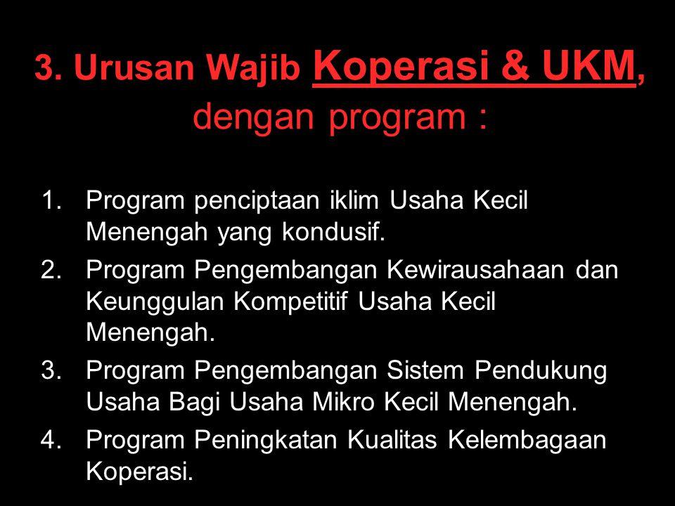 3. Urusan Wajib Koperasi & UKM, dengan program : 1. 1.Program penciptaan iklim Usaha Kecil Menengah yang kondusif. 2. 2.Program Pengembangan Kewirausa