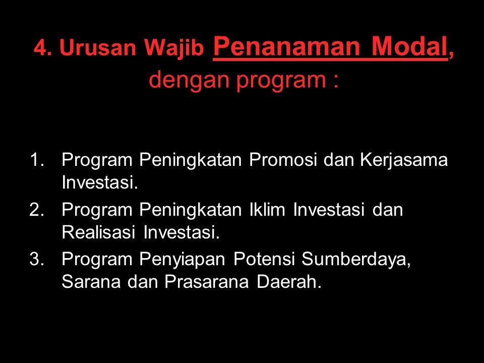 4. Urusan Wajib Penanaman Modal, dengan program : 1. 1.Program Peningkatan Promosi dan Kerjasama Investasi. 2. 2.Program Peningkatan Iklim Investasi d