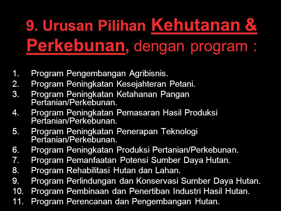 9. Urusan Pilihan Kehutanan & Perkebunan, dengan program : 1. 1.Program Pengembangan Agribisnis. 2. 2.Program Peningkatan Kesejahteran Petani. 3. 3.Pr