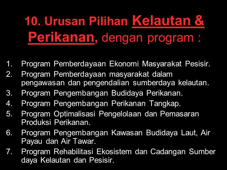 10. Urusan Pilihan Kelautan & Perikanan, dengan program : 1. 1.Program Pemberdayaan Ekonomi Masyarakat Pesisir. 2. 2.Program Pemberdayaan masyarakat d