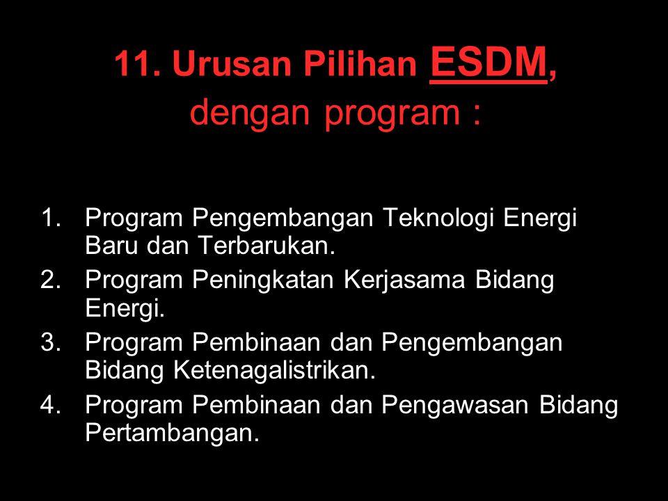11. Urusan Pilihan ESDM, dengan program : 1. 1.Program Pengembangan Teknologi Energi Baru dan Terbarukan. 2. 2.Program Peningkatan Kerjasama Bidang En