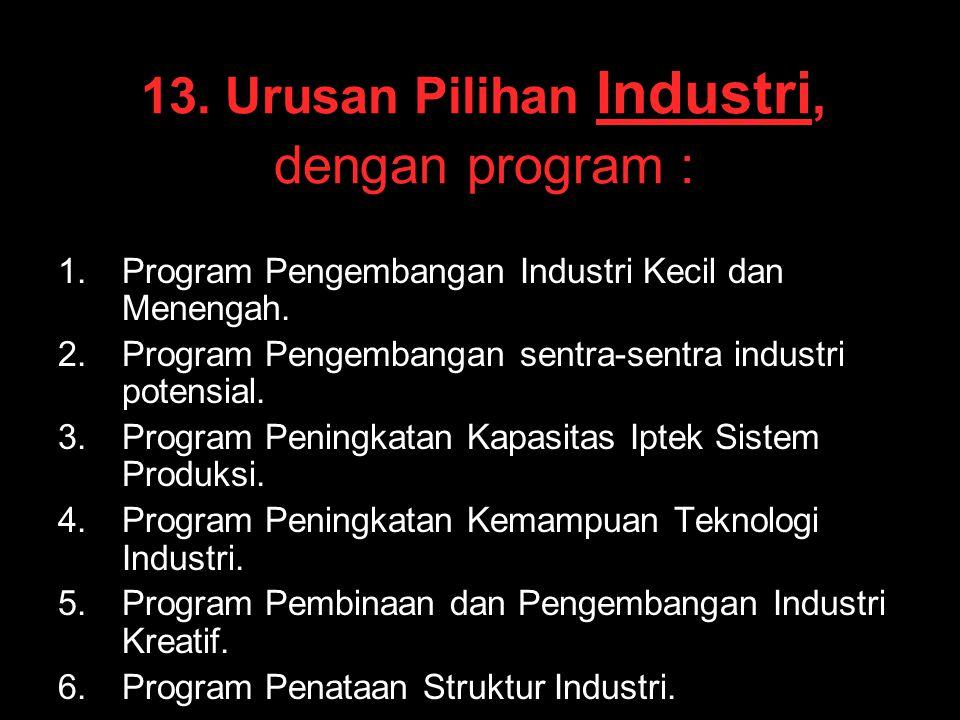 13. Urusan Pilihan Industri, dengan program : 1. 1.Program Pengembangan Industri Kecil dan Menengah. 2. 2.Program Pengembangan sentra-sentra industri