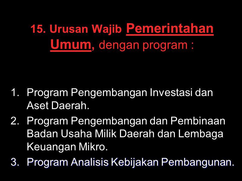 15. Urusan Wajib Pemerintahan Umum, dengan program : 1. 1.Program Pengembangan Investasi dan Aset Daerah. 2. 2.Program Pengembangan dan Pembinaan Bada