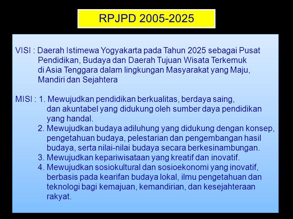 RPJPD 2005-2025 VISI : Daerah Istimewa Yogyakarta pada Tahun 2025 sebagai Pusat Pendidikan, Budaya dan Daerah Tujuan Wisata Terkemuk di Asia Tenggara