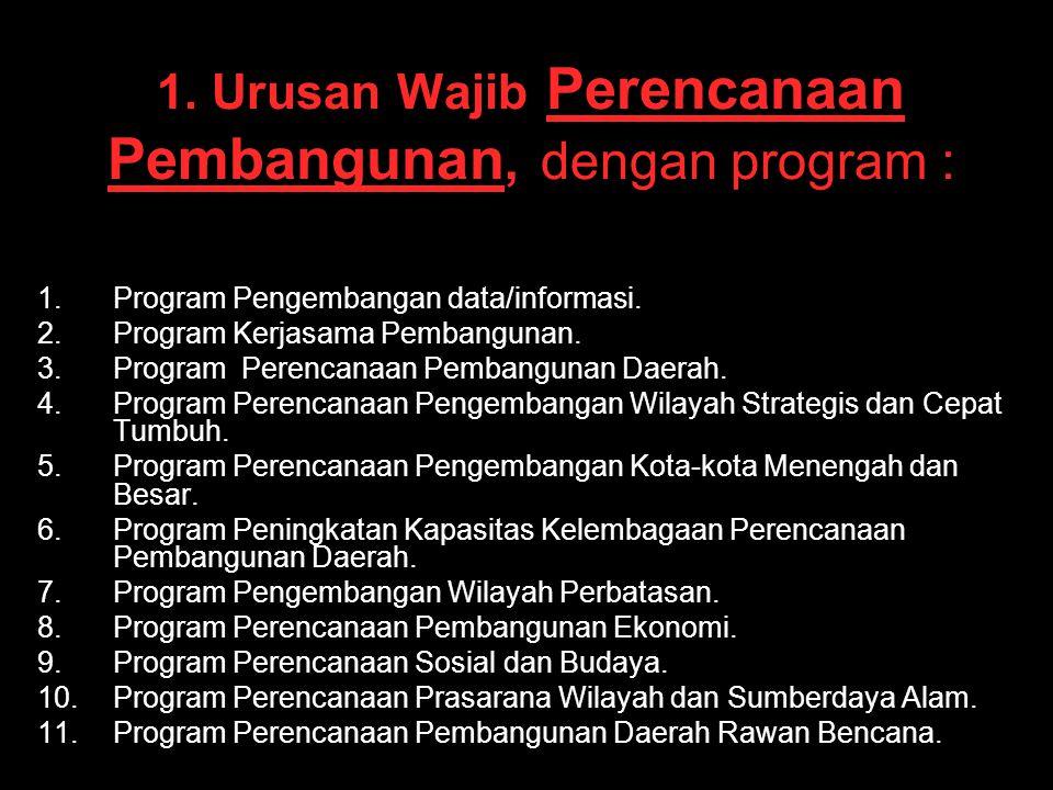 1. Urusan Wajib Perencanaan Pembangunan, dengan program : 1. 1.Program Pengembangan data/informasi. 2. 2.Program Kerjasama Pembangunan. 3. 3.Program P
