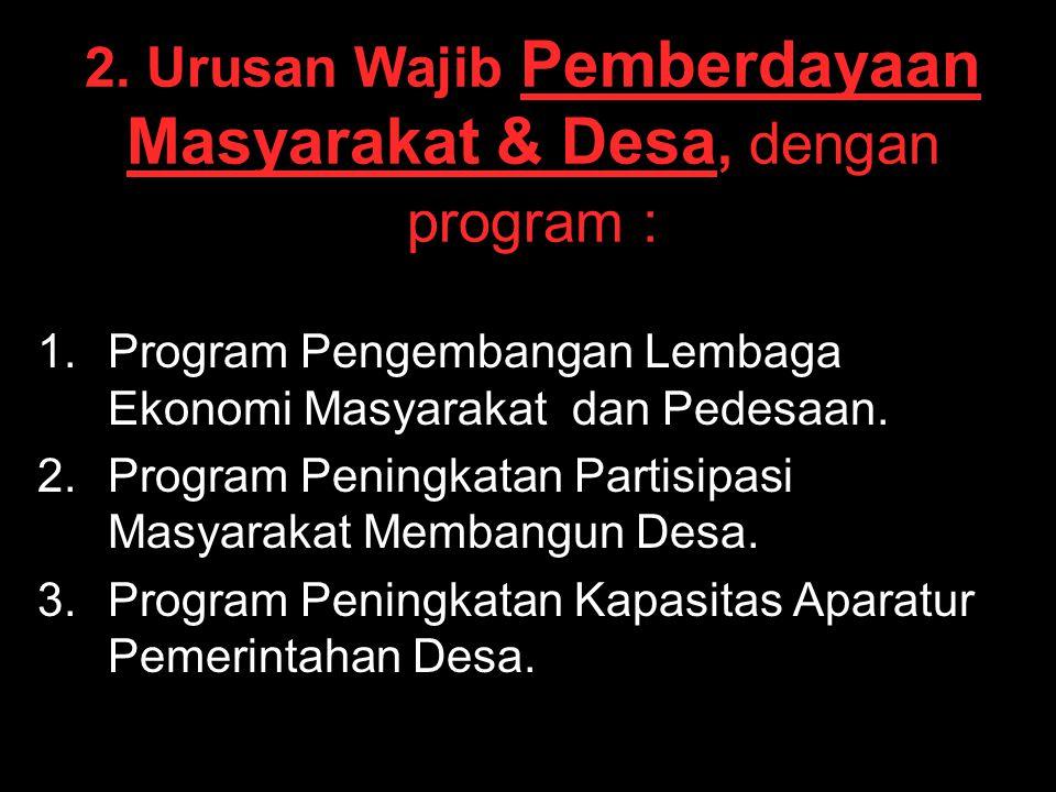 2. Urusan Wajib Pemberdayaan Masyarakat & Desa, dengan program : 1. 1.Program Pengembangan Lembaga Ekonomi Masyarakat dan Pedesaan. 2. 2.Program Penin