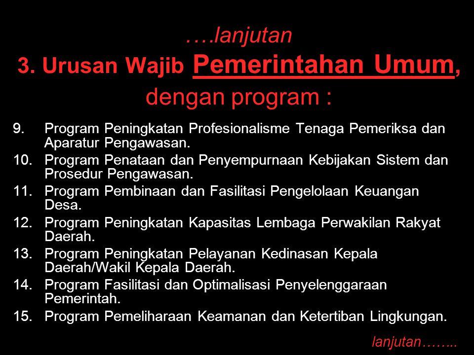 .…lanjutan 3. Urusan Wajib Pemerintahan Umum, dengan program : 9. 9.Program Peningkatan Profesionalisme Tenaga Pemeriksa dan Aparatur Pengawasan. 10.