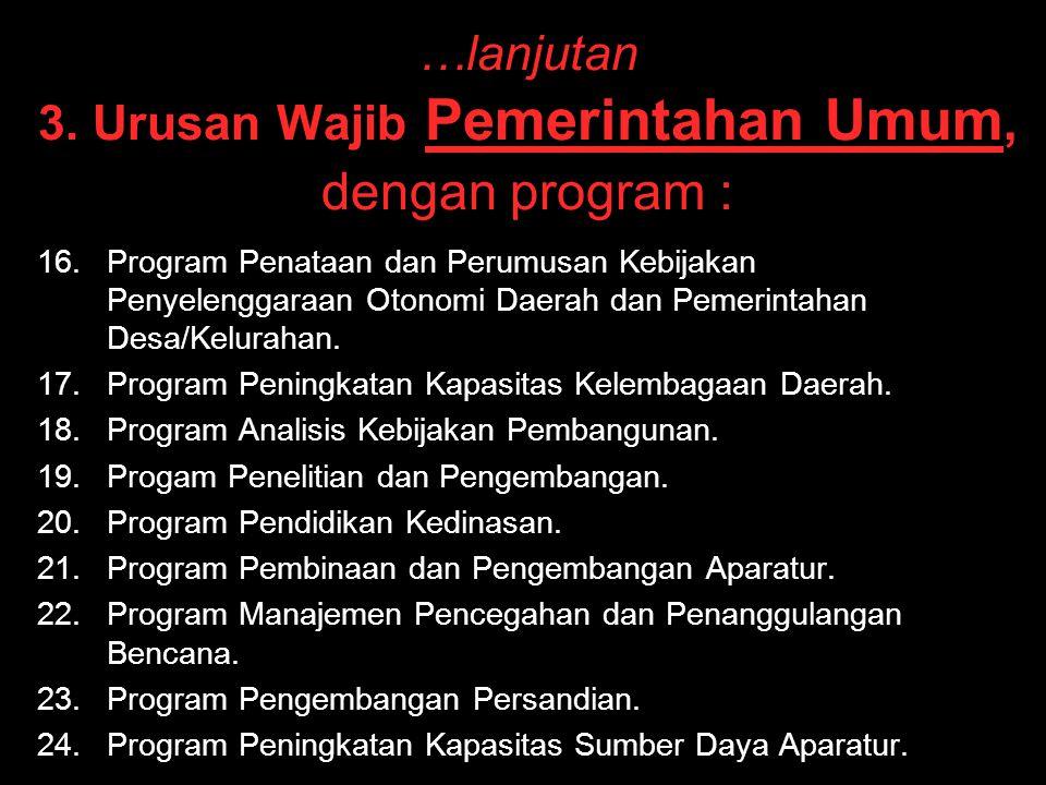 …lanjutan 3. Urusan Wajib Pemerintahan Umum, dengan program : 16. 16.Program Penataan dan Perumusan Kebijakan Penyelenggaraan Otonomi Daerah dan Pemer