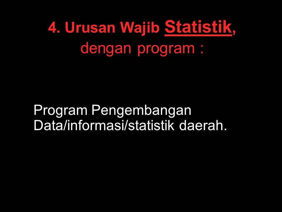 4. Urusan Wajib Statistik, dengan program : Program Pengembangan Data/informasi/statistik daerah.