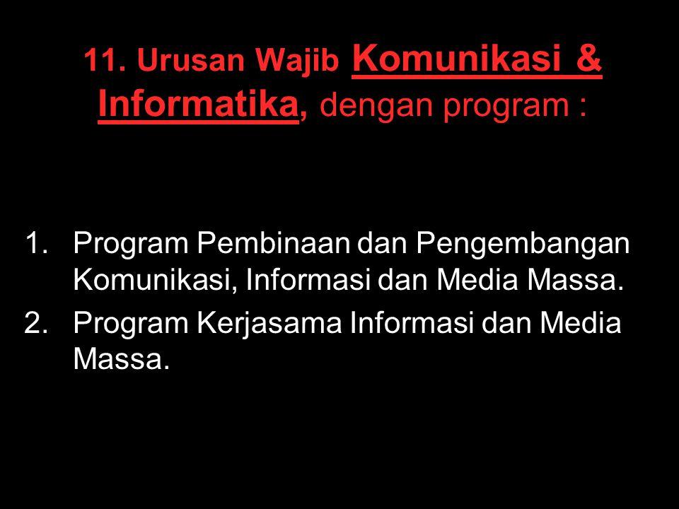 11. Urusan Wajib Komunikasi & Informatika, dengan program : 1. 1.Program Pembinaan dan Pengembangan Komunikasi, Informasi dan Media Massa. 2. 2.Progra