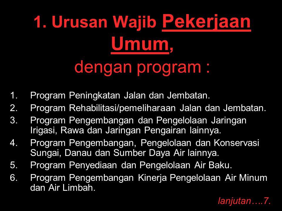 1. Urusan Wajib Pekerjaan Umum, dengan program : 1. 1.Program Peningkatan Jalan dan Jembatan. 2. 2.Program Rehabilitasi/pemeliharaan Jalan dan Jembata