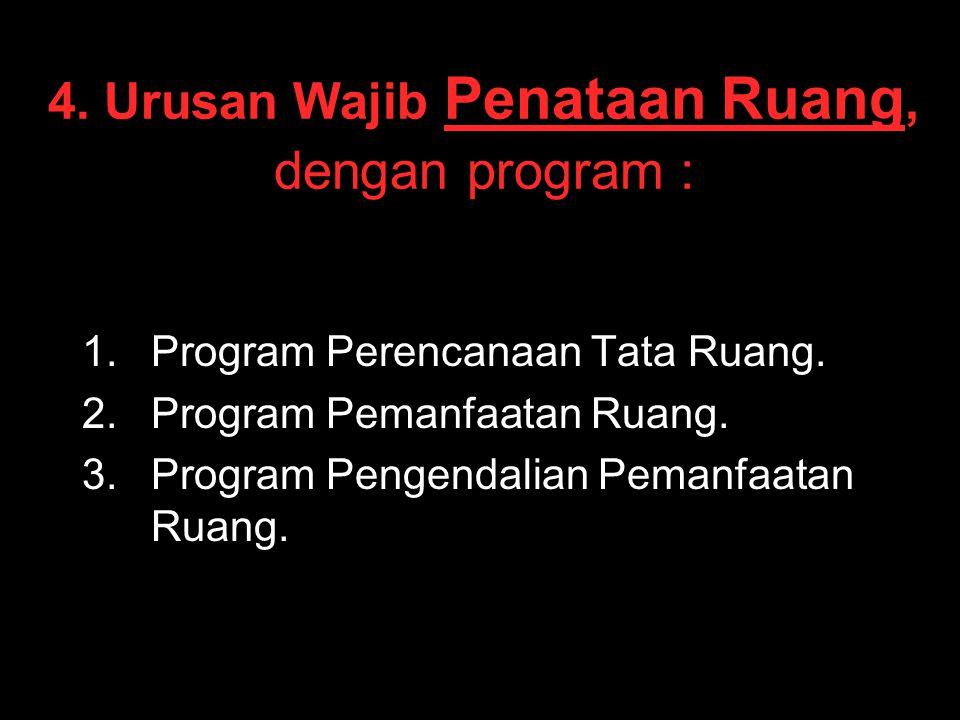 4. Urusan Wajib Penataan Ruang, dengan program : 1. 1.Program Perencanaan Tata Ruang. 2. 2.Program Pemanfaatan Ruang. 3. 3.Program Pengendalian Pemanf
