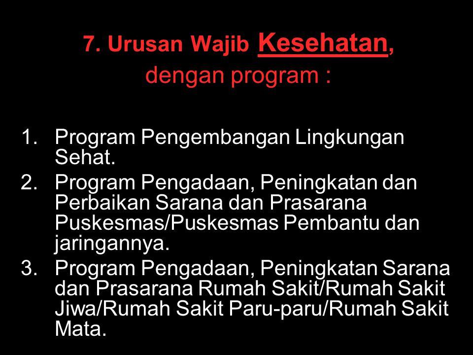 7. Urusan Wajib Kesehatan, dengan program : 1. 1.Program Pengembangan Lingkungan Sehat. 2. 2.Program Pengadaan, Peningkatan dan Perbaikan Sarana dan P