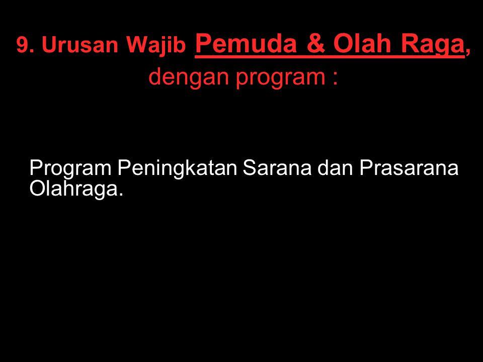 9. Urusan Wajib Pemuda & Olah Raga, dengan program : Program Peningkatan Sarana dan Prasarana Olahraga.