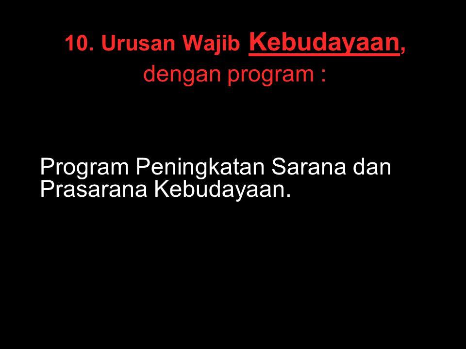 10. Urusan Wajib Kebudayaan, dengan program : Program Peningkatan Sarana dan Prasarana Kebudayaan.