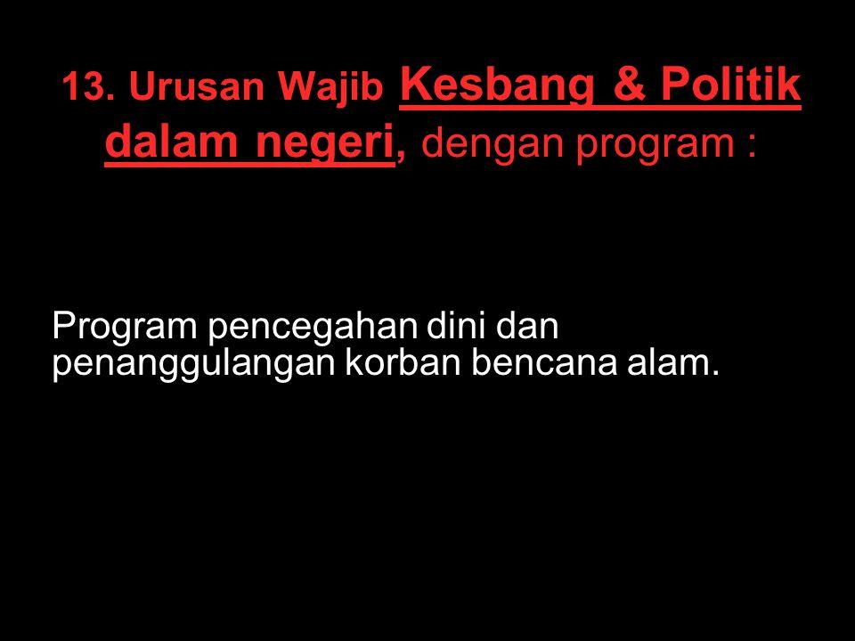 13. Urusan Wajib Kesbang & Politik dalam negeri, dengan program : Program pencegahan dini dan penanggulangan korban bencana alam.