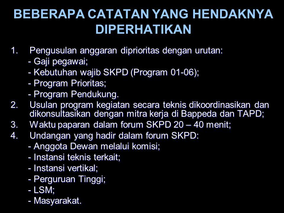 1.Pengusulan anggaran diprioritas dengan urutan: - Gaji pegawai; - Gaji pegawai; - Kebutuhan wajib SKPD (Program 01-06); - Kebutuhan wajib SKPD (Progr