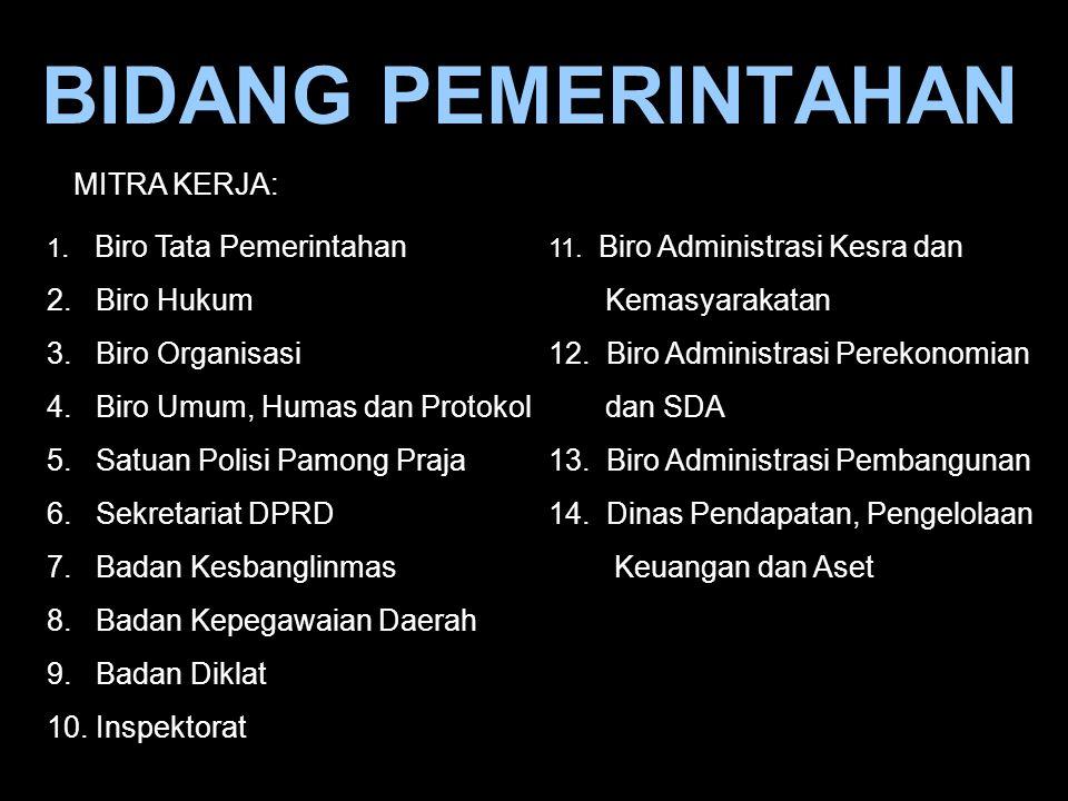 BIDANG PEMERINTAHAN 1. Biro Tata Pemerintahan 2. Biro Hukum 3. Biro Organisasi 4. Biro Umum, Humas dan Protokol 5. Satuan Polisi Pamong Praja 6. Sekre