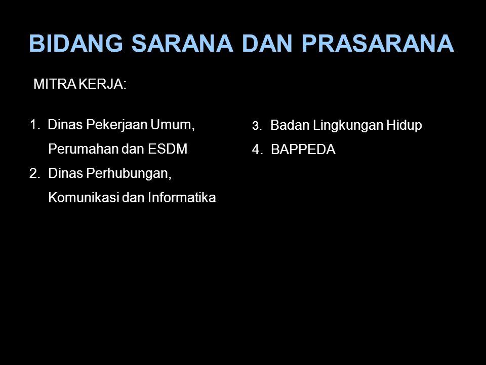 BIDANG SARANA DAN PRASARANA 1.Dinas Pekerjaan Umum, Perumahan dan ESDM 2. Dinas Perhubungan, Komunikasi dan Informatika 3. Badan Lingkungan Hidup 4. B