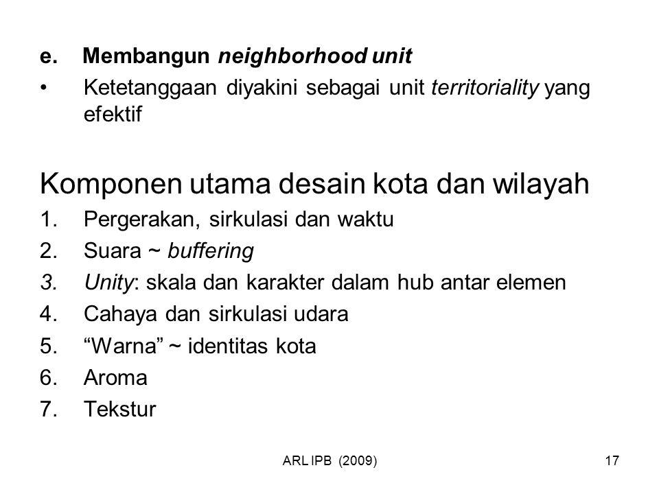 ARL IPB (2009)17 e. Membangun neighborhood unit Ketetanggaan diyakini sebagai unit territoriality yang efektif Komponen utama desain kota dan wilayah