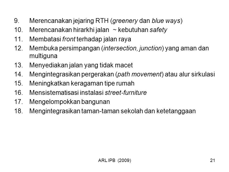 ARL IPB (2009)21 9.Merencanakan jejaring RTH (greenery dan blue ways) 10.Merencanakan hirarkhi jalan ~ kebutuhan safety 11.Membatasi front terhadap ja