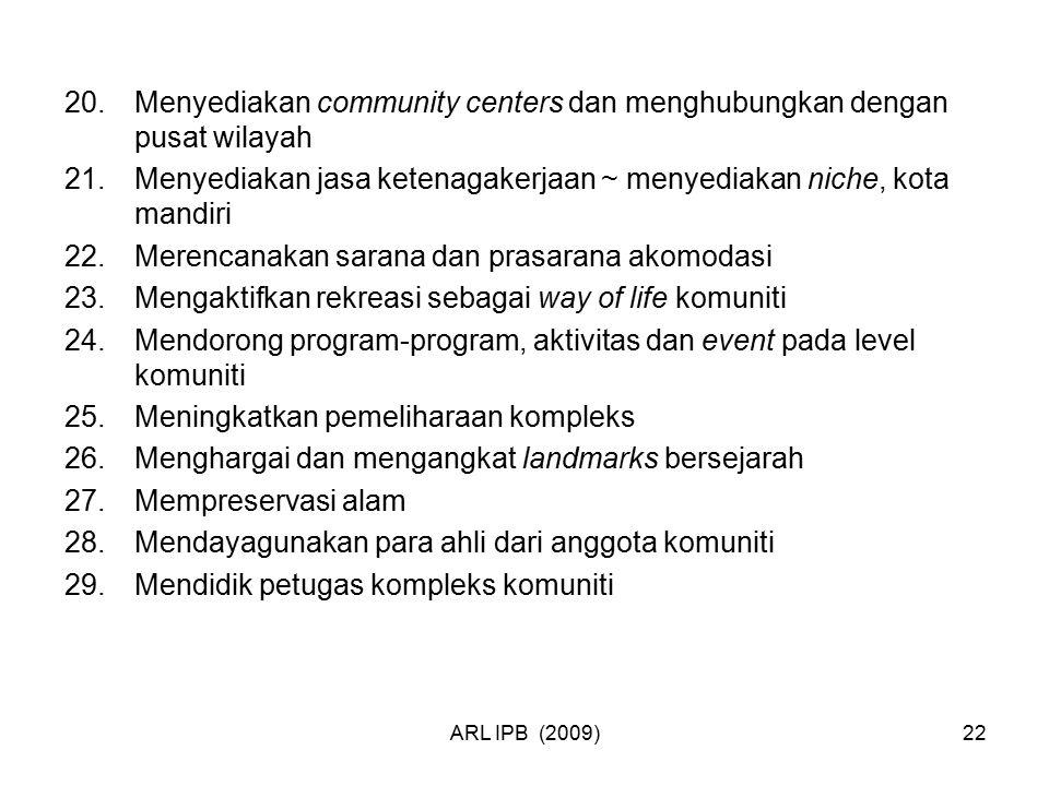 ARL IPB (2009)22 20.Menyediakan community centers dan menghubungkan dengan pusat wilayah 21.Menyediakan jasa ketenagakerjaan ~ menyediakan niche, kota