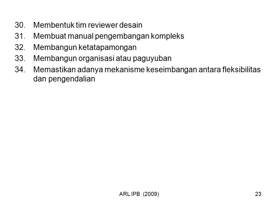 ARL IPB (2009)23 30.Membentuk tim reviewer desain 31.Membuat manual pengembangan kompleks 32.Membangun ketatapamongan 33.Membangun organisasi atau pag