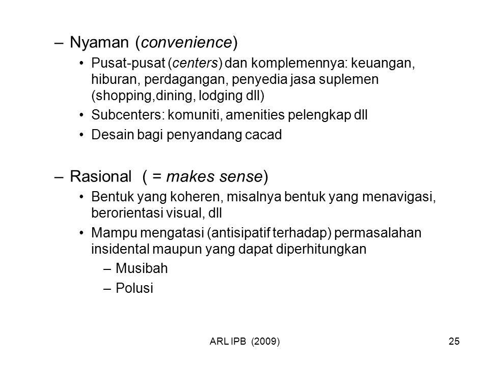 ARL IPB (2009)25 –Nyaman (convenience) Pusat-pusat (centers) dan komplemennya: keuangan, hiburan, perdagangan, penyedia jasa suplemen (shopping,dining