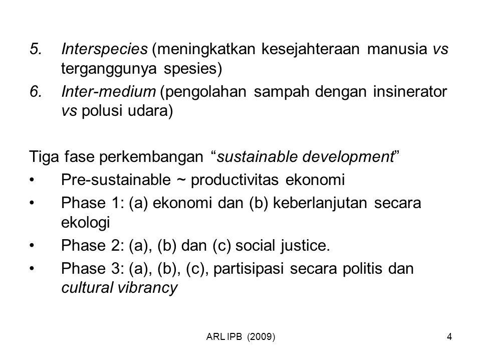 ARL IPB (2009)4 5.Interspecies (meningkatkan kesejahteraan manusia vs terganggunya spesies) 6.Inter-medium (pengolahan sampah dengan insinerator vs po