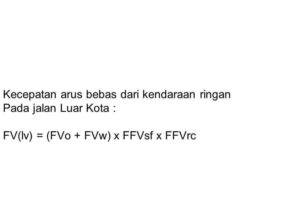 Kecepatan arus bebas dari kendaraan ringan Pada jalan Luar Kota : FV(lv) = (FVo + FVw) x FFVsf x FFVrc