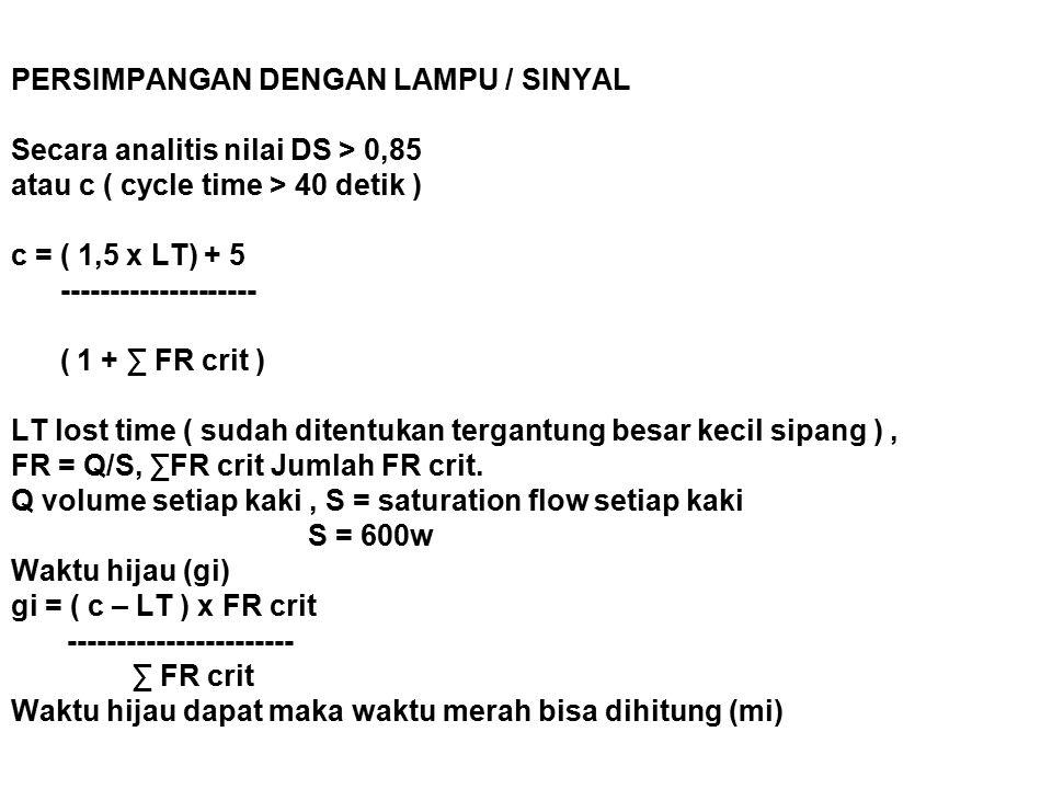 PERSIMPANGAN DENGAN LAMPU / SINYAL Secara analitis nilai DS > 0,85 atau c ( cycle time > 40 detik ) c = ( 1,5 x LT) + 5 -------------------- ( 1 + ∑ FR crit ) LT lost time ( sudah ditentukan tergantung besar kecil sipang ), FR = Q/S, ∑FR crit Jumlah FR crit.